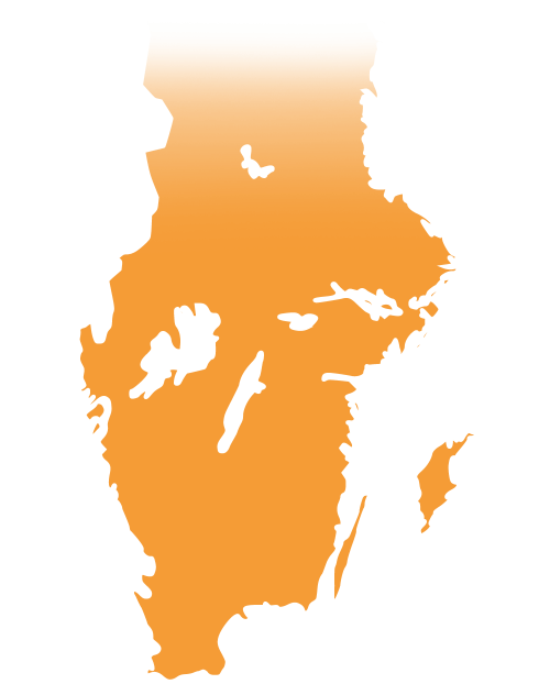 Map of south Sweden